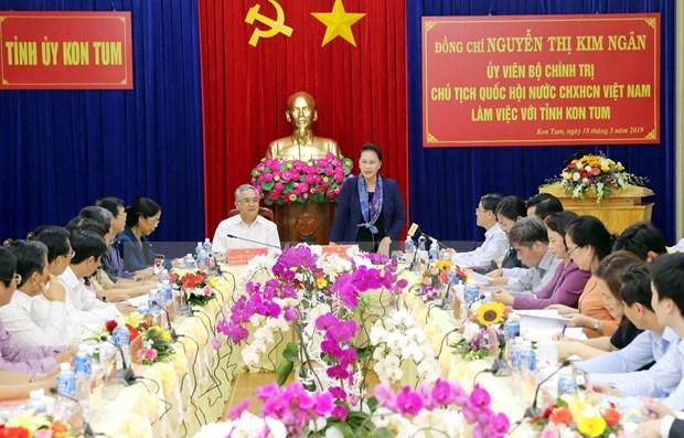 Insta presidenta del Parlamento de Vietnam a Kon Tum a impulsar agricultura de alta tecnologia hinh anh 1