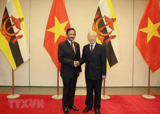 Maximo dirigente vietnamita ofrece banquete de bienvenida al sultan de Brunei hinh anh 1