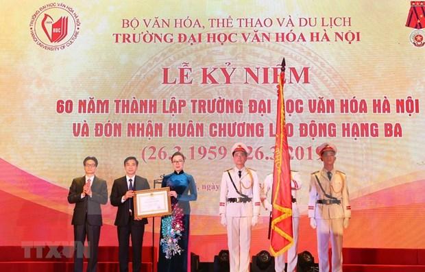 Preside vicepremier vietnamita acto por aniversario 60 de fundacion de la Universidad de Cultura de Hanoi hinh anh 1