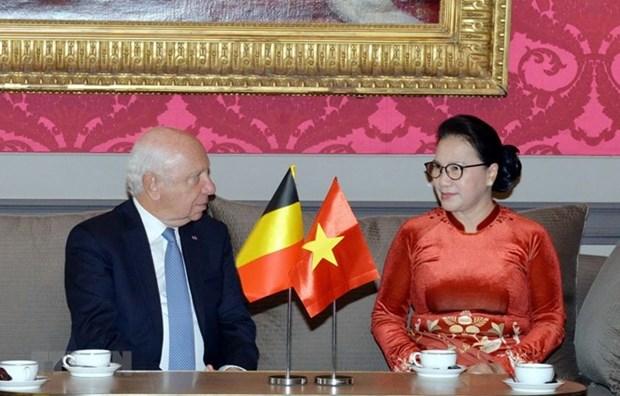 Maxima legisladora vietnamita se reune con titular del Senado belga hinh anh 1
