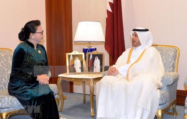 Presidenta parlamentaria vietnamita se reune con premier qatari hinh anh 1