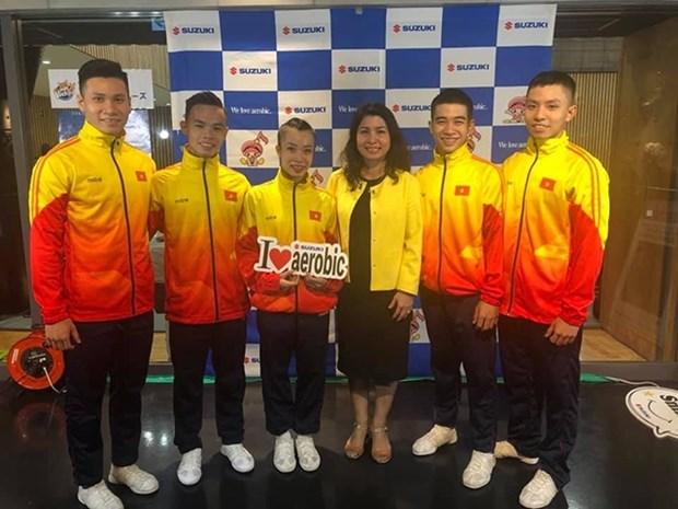 Gana Vietnam tres medallas de oro en Copa Mundial de gimnasia aerobica hinh anh 1