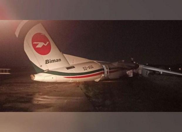 Resultan heridas 11 personas tras accidente de avion bangladesi en aeropuerto de Myanmar hinh anh 1