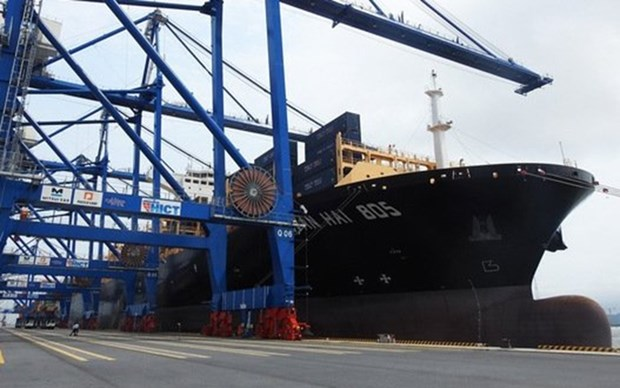 Atraca gigantesco buque portacontenedores en Terminal Internacional vietnamita de Hai Phong hinh anh 1