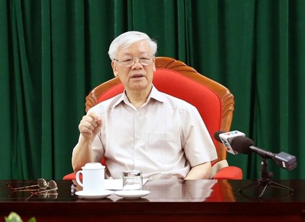 Secretario general del Partido y presidente vietnamita se reune con dirigentes claves hinh anh 1