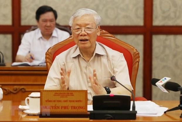 Maximo dirigente de Vietnam preside reunion del Buro Politico hinh anh 1