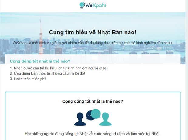 Lanzan version vietnamita de pagina informativa japonesa WeXpats hinh anh 1