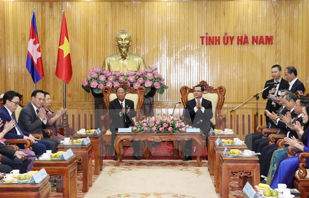 Presidente de la Asamblea Nacional camboyana recorrio la provincia de Ha Nam durante su visita a Vietnam hinh anh 1