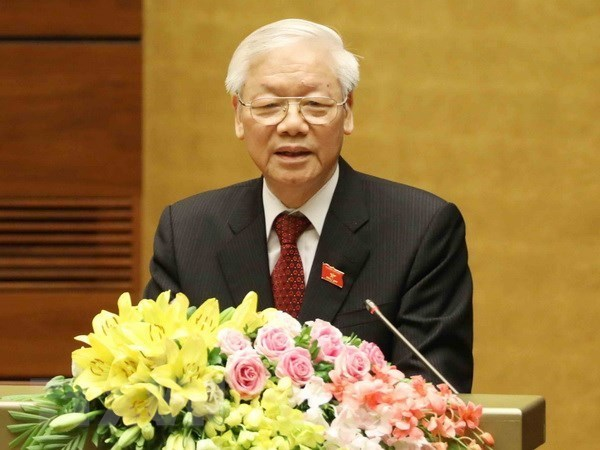 Maximo dirigente politico de Vietnam insta a fortalecer el rol de liderazgo del Partido Comunista hinh anh 1