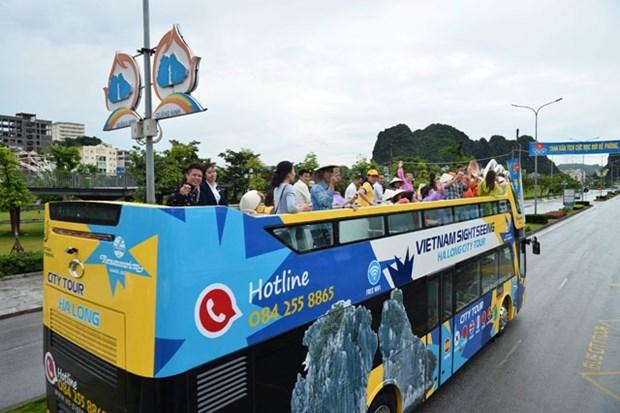 Provincia vietnamita de Quang Ninh pone en servicio el autobus turistico de dos pisos hinh anh 1