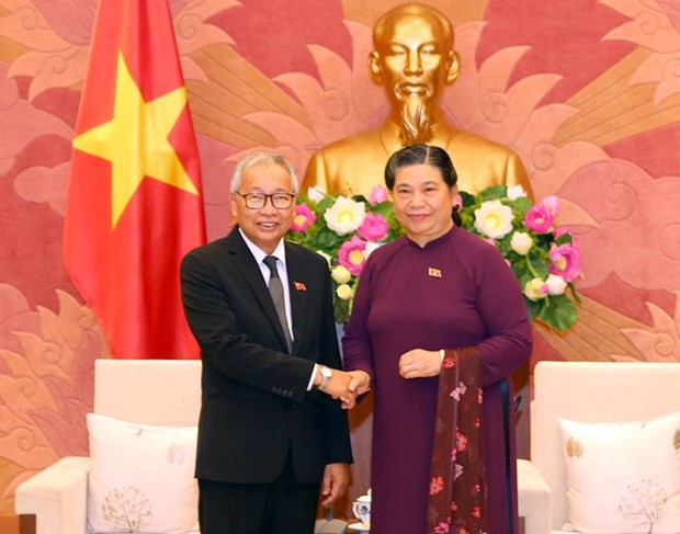 Visitan Vietnam altos funcionarios de Liga Nacional para la Democracia de Myanmar hinh anh 1