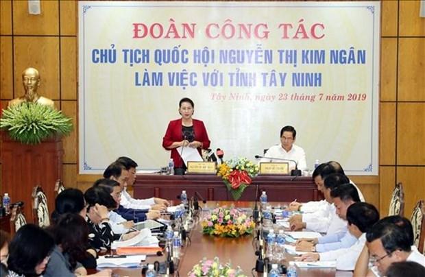 Presidenta parlamentaria vietnamita en visita de trabajo en Tay Ninh hinh anh 1