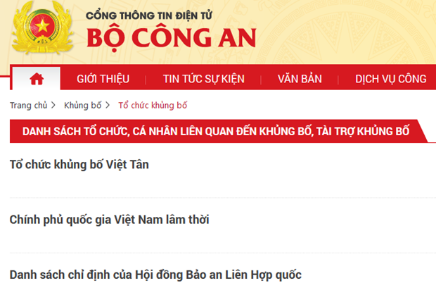 Vietnam publica lista de colectivos e individuos relacionados con terrorismo hinh anh 1
