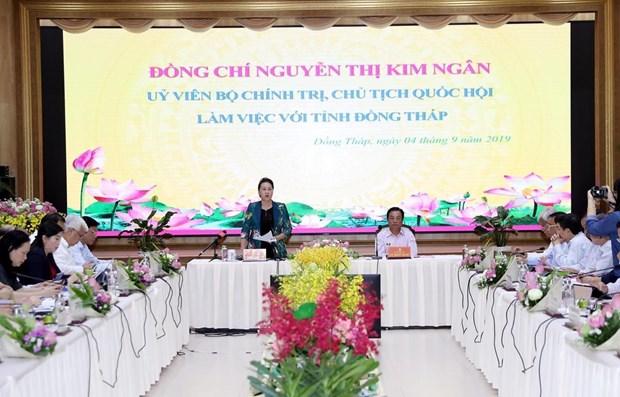 Presidenta del Parlamento vietnamita destaca el desarrollo agricola en provincia de Dong Thap hinh anh 1