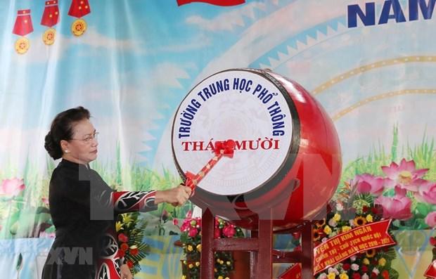 Exhorta presidenta del Parlamento de Vietnam a renovar la educacion hinh anh 1