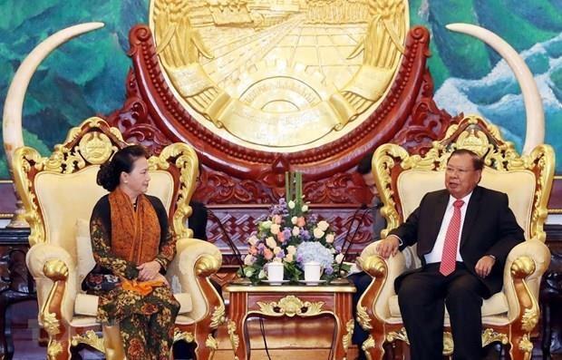 Concluye presidenta del Parlamento de Vietnam visita a Laos hinh anh 1