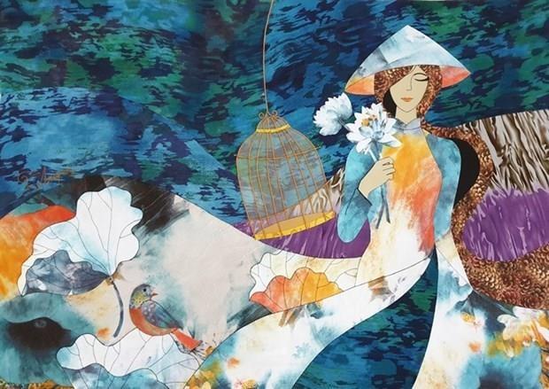 Renace pintura en seda de Vietnam bajo las manos de artistas jovenes hinh anh 1