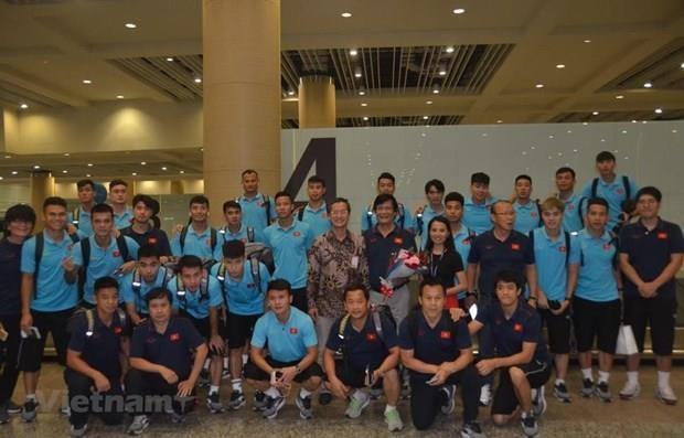 Llega seleccion de futbol vietnamita a Indonesia hinh anh 1