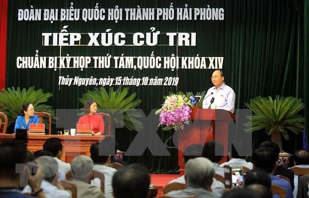 Dialoga primer ministro de Vietnam con electores en la ciudad de Hai Phong hinh anh 1