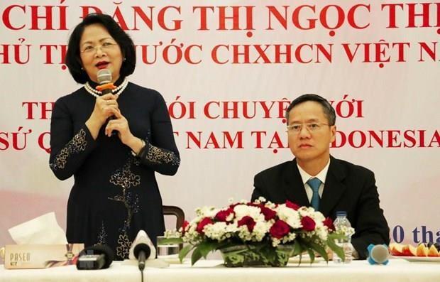 Visita vicepresidenta de Vietnam embajada nacional en Indonesia hinh anh 1