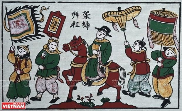 Presentan en Vietnam valiosa coleccion de centenarias pinturas folcloricas hinh anh 1