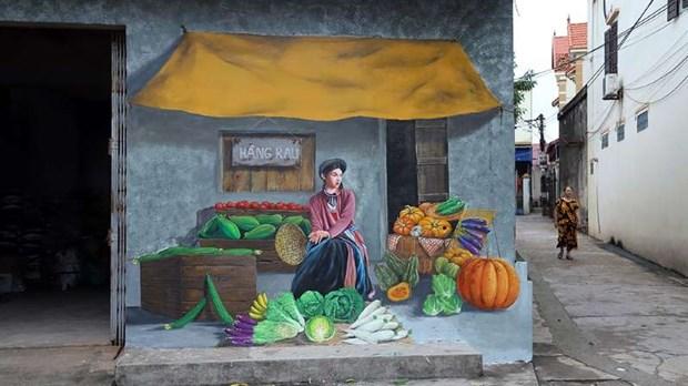 Atractiva aldea de pinturas murales de Chu Xa en Hanoi hinh anh 1