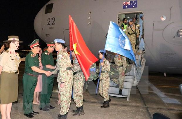 Regresan de Sudan del Sur misioneros vietnamitas de mantenimiento de la paz hinh anh 1