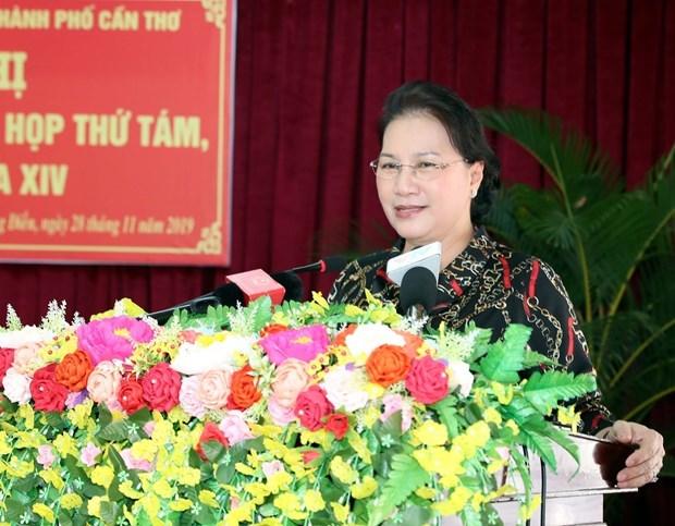 Anuncia maxima legisladora de Vietnam resultado del octavo periodo de sesiones parlamentarias al electorado hinh anh 1