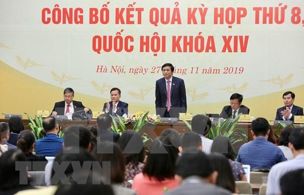 Parlamento de Vietnam adopta cambios cruciales durante octavo periodo de sesiones hinh anh 1