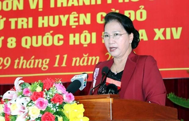 Presidenta del Parlamento vietnamita se reune con los votantes en Can Tho hinh anh 1