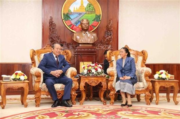 Viceprimer ministro de Vietnam realiza visita a Laos hinh anh 1
