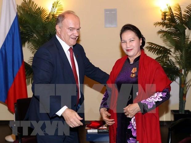 Se reune maxima legisladora de Vietnam con lideres comunistas rusos hinh anh 1