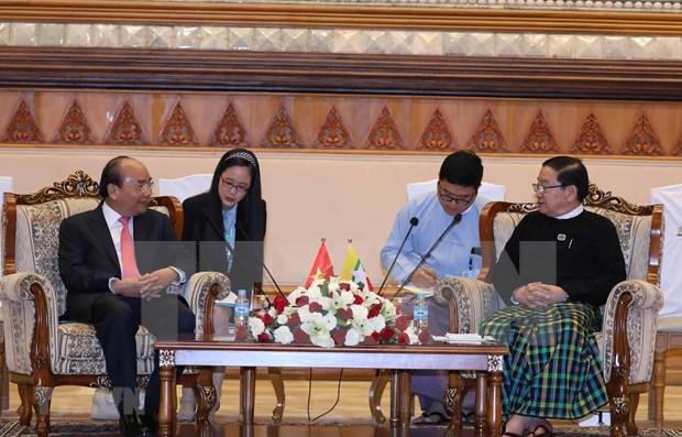 Primer ministro vietnamita se reunio con lider parlamentario de Myanmar hinh anh 1