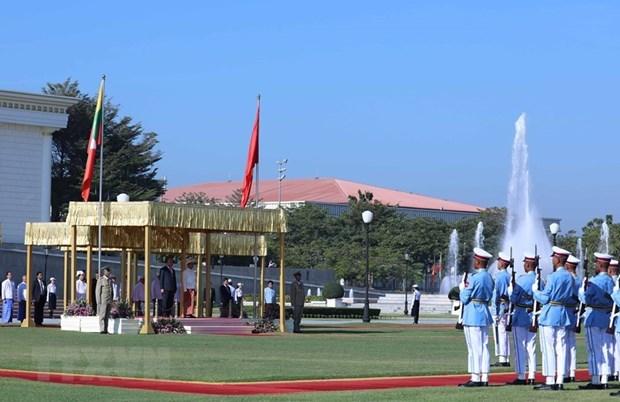 Presidente de Myanmar preside ceremonia de bienvenida al premier vietnamita hinh anh 1