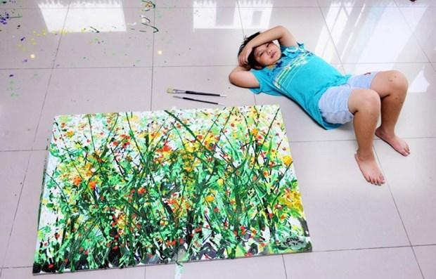 Exhibira pequeno artista vietnamita sus obras en Nueva York hinh anh 1