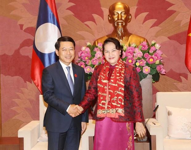Presidenta del Parlamento vietnamita recibe al canciller laosiano hinh anh 1