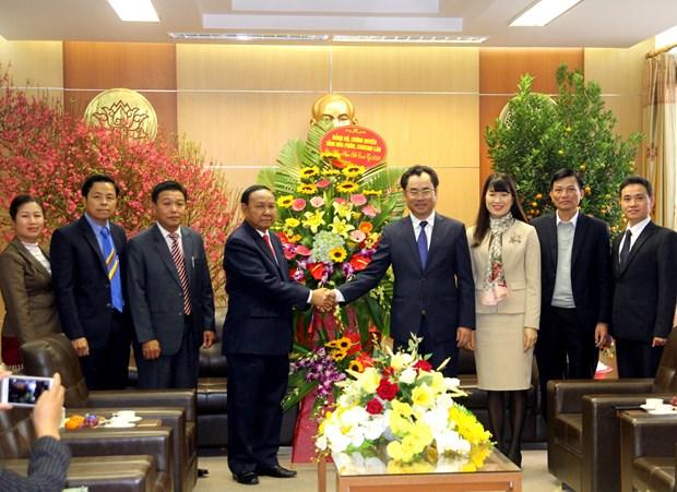 Felicita delegacion laosiana a provincia vietnamita en ocasion del Tet hinh anh 1