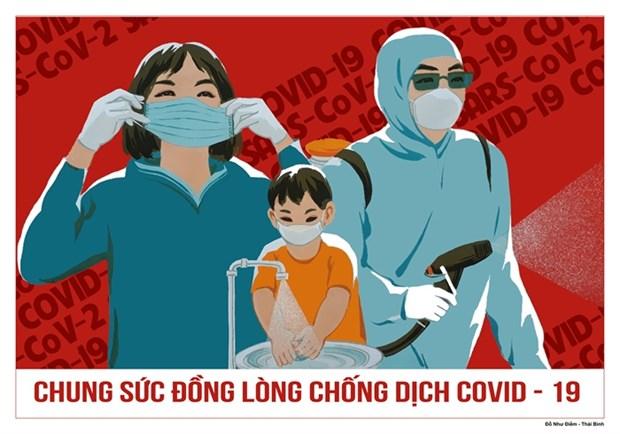 Nutrida participacion en concurso de carteles sobre prevencion del COVID-19 hinh anh 1