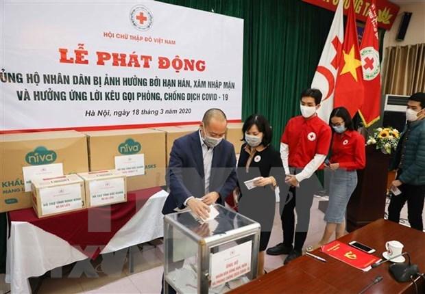 Cruz Roja de Vietnam llama a apoyar a pobladores afectados por sequia y la lucha contra el COVID-19 hinh anh 1
