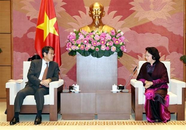 Presidenta de Asamblea Nacional de Vietnam recibe al embajador saliente japones hinh anh 1