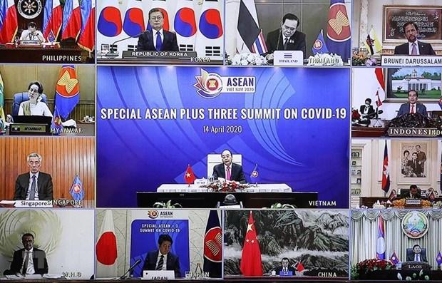 ASEAN y socios discuten medidas especificas contra COVID-19 hinh anh 1