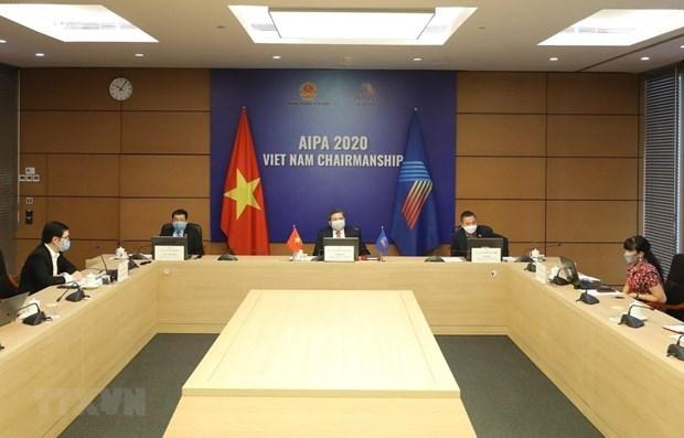 Vietnam participa en teleconferencia sobre papel parlamentario en lucha contra COVID-19 hinh anh 1
