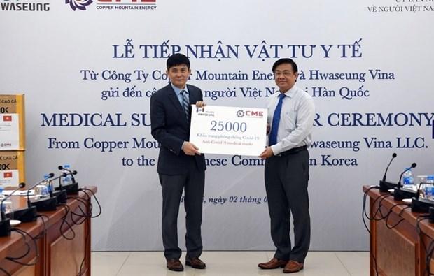 Entregan donacion de empresas para vietnamitas en Corea del Sur contra el COVID-19 hinh anh 1