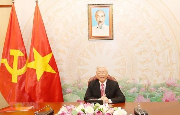 Maximos dirigentes de Vietnam y Rusia mantienen conversacion telefonica hinh anh 1