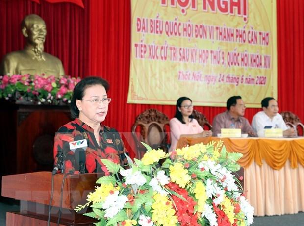 Presidenta del Parlamento vietnamita dialoga con electores sobre temas de interes hinh anh 1