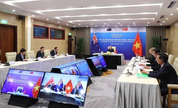 Vietnam y Nueva Zelanda emiten Declaracion Conjunta sobre establecimiento de asociacion estrategica hinh anh 1