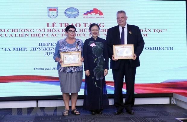 Funcionarios rusos honrados con medalla de amistad de Vietnam hinh anh 1