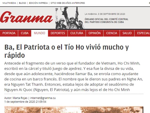 Prensa cubana alaba a Vietnam a 75 anos de su independencia hinh anh 1