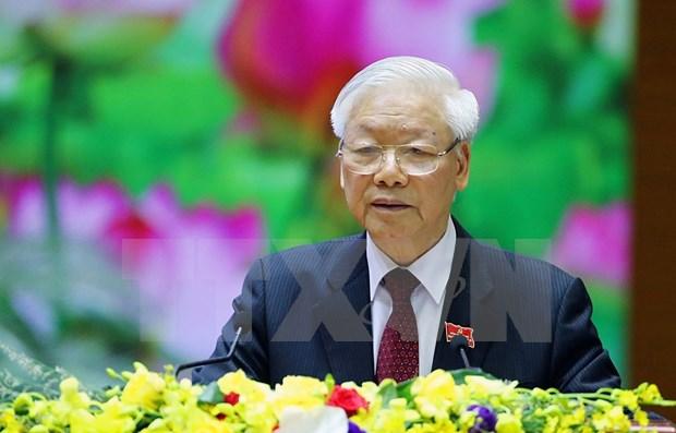 Maximo dirigente de Vietnam llama a establecer un comite partidista ejemplar y fuerte en el Ejercito hinh anh 1
