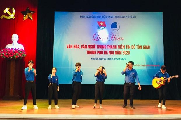 Celebran en Hanoi festival cultural y artistico entre jovenes creyentes y de minorias etnicas hinh anh 1